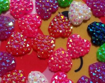Multi-coloured Glitter Heart Small Flatback Cabochons Decoden Jewellery Supplies Kawaii
