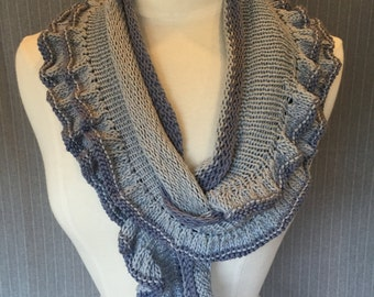 Hand knitted Ruffle Scarf