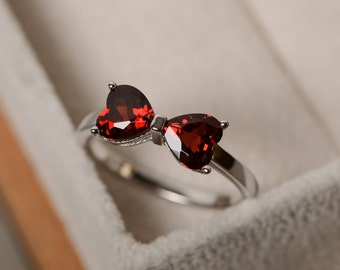 January birthstone, natural garnet ring, red gemstone, sterling sivler, promise ring