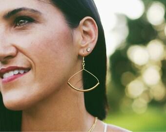 Gold tube earring