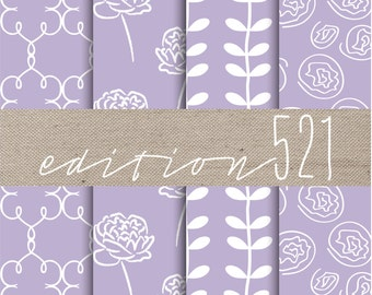 Lavender Digital Paper Set, Digital Background, Peony Background, DIY Lavender Wedding Invite Paper, DIY Invitation Paper, Pantone 14-3812