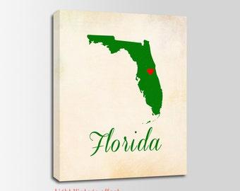 Florida Canvas Print, Florida Vintage Print, Florida Map, Personalized Art, Wall Decor, Vintage Map, Nursery Art, USA