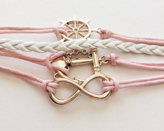 Handmade baby pink rope cord white braided leather multilayer charm bracelet infinity anchor with chain ship steering wheel