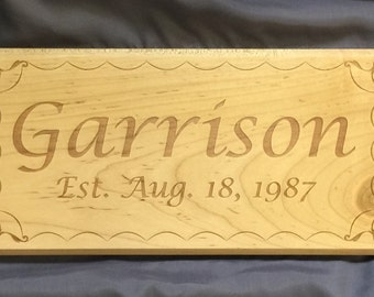 Personalized Name Sign with Est. Date and Wave Border - Laser Engraved Solid Wood