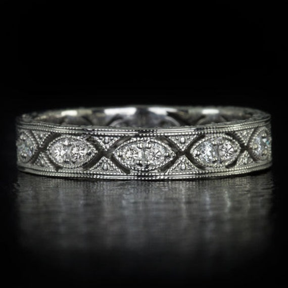 Art Deco Eternity Diamond Wedding Band Stack Able Vintage
