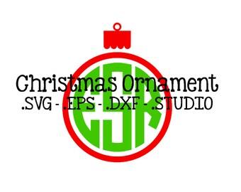Christmas Ornament Monogram Topper - Ornament SVG - Ornament DXF - Ornament EPS - Ornament Silhouette Studio Cut File - Christmas Monogram