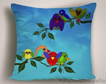 Blue Nursery Pillows with Birds, Kids Pillows, Blue Nursery Decor, Child's Room Bird Decor, Large Pillow Covers