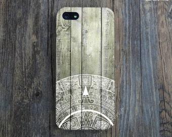 AZTEC CALENDAR STONE iPhone Case. Tribal iPhone 5 Case. Wood Print iPhone 5s Case. Aztec iPhone 5C Case. Unique iPhone Cover. Gift. iPhone 4