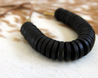 Minimalist Wood and Brass Necklace on Leather Chord
