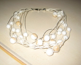 Drawstring-neck necklace Pearls Cream Natural two-tone Cream-Coffee