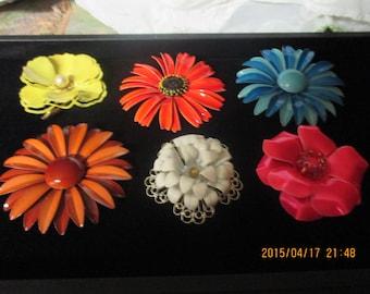 Lot of 6 Vintage tin flower pins circa 1960's