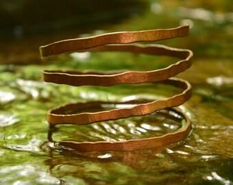 Hammered Copper Spiral Bracelet