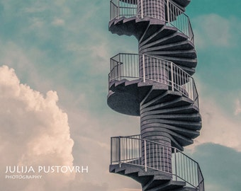 Instant digital download - Dreamy photography - Steps into the sky - Clouds, sky, steps, imagination, blue skyies, white clouds - Home decor
