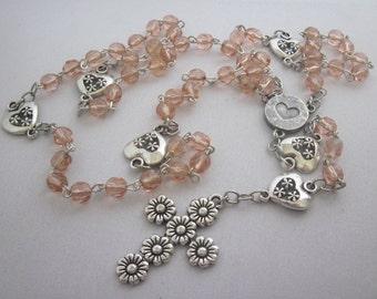 Feminine Peach Glass Rosary 5, Five Decade Rosary, Religious Gift, Catholic, Spiritual, Rosary, Prayer Beads