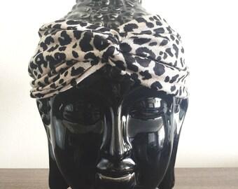 Turban Headband, Head Wrap, Fabric Hair Wrap, Fashion Hair Accessories, Printed Jersey knit Turband in cheetah print