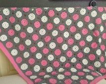 Crochet baby bedspread-grey/white/pink