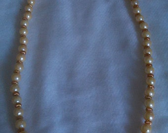 Pearl and Gold Beaded Necklace