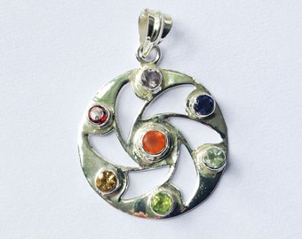 Hand made sterling silver 7 chakra pendant with gems