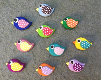 Bird Magnets - SET of 4 colorful polymer clay magnets