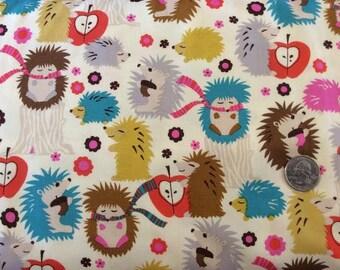 Hedgehog Meadow on Cream by Michael Miller