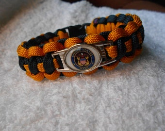 US Navy Paracord Bracelet - Goldenrod Yellow & Navy Blue - Hand Made