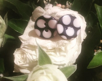 Black and White Polka Dot Button Stud Earrings - Polka Dot Earrings - Button Earrings