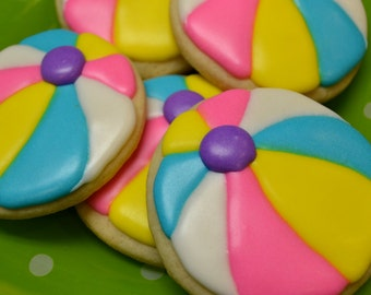 Beach Ball Pool Party Sugar Cookies