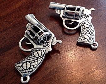 2 Large Gun Charms, Antique Silver Charm, 3D Gun Charm, Pistol Charm, Hand Gun Charm, Jewelry and Craft Supplies, Findings