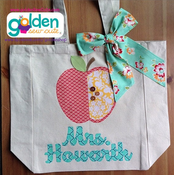 Personalized Name and Apple Teacher Tote Bag with Fabric Bow, aqua, yellow, coral