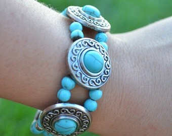 Turquoise Boho Chic Clasp Bracelet - Jewelry Gifts for Her
