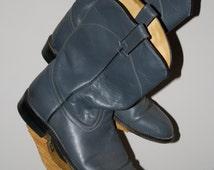 Vintage Roper Boot Acme Blue Rodeo 7 Vulcan Stock Show Western Men's Boy's Unisex