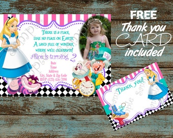 Alice in Wonderland Birthday Invitation, Alice in Wonderland party, Alice in Wonderland party supplies, FREE Alice Thank you card