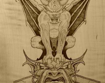 Gothic Gargoyle - Wood Burning
