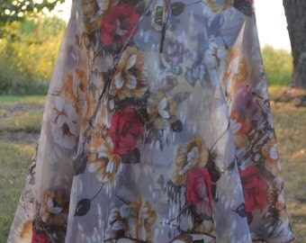 1960's Vintage Sheer Floral Cape With Sleeves Size S/M/L