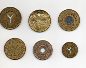 Complete set of 6 NYC New York City MTA subway tokens 1950-2003