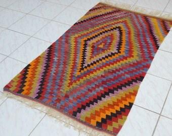 2'10'' X 4'9'' / 86 X 146cm Vintage area rug multi colored small kilim rug, Flatweave Wool Turkish Kilim Rugs, Nomad Turkish Floor Kelim Rug