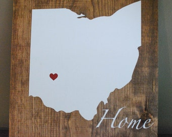Custom State Sign, Wood Ohio Sign, Hand Painted And Stained, Customize, Rustic, Ohio State, Home Wood Sign