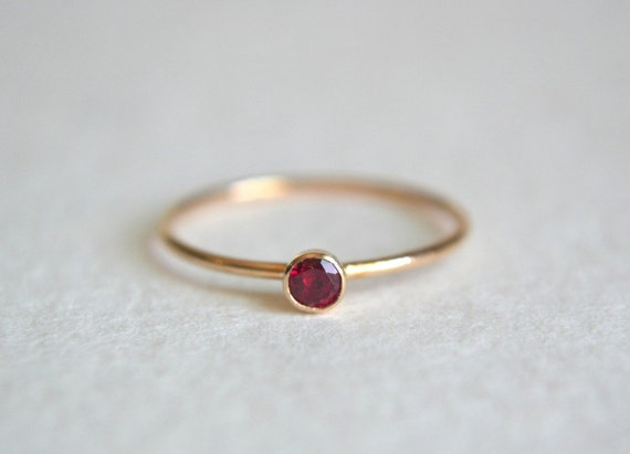 one gold filled ruby ring stacking ring 14k gold ring by. Black Bedroom Furniture Sets. Home Design Ideas