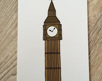 Big Ben Illustration Postcard