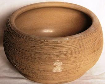 Mid Sized Unglazed Rough Textured Stoneware Planter - Hartrox Stoneware