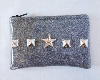 Studded gray sparkle coin purse