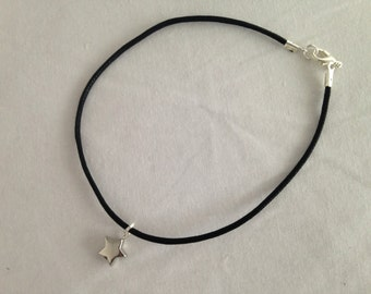 Black Leather Anklet with Silver Star