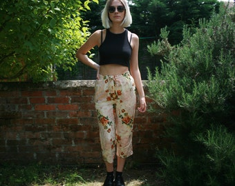 Vintage Women's Loose Fit Patterned Trousers