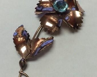 Vintage 1940'S Sterling By Jordan Rose Gold Vermeil Flower Pin Brooch 9.5g 5308