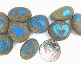 Metallic-Blue Heart Pebbles