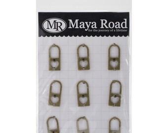 Maya Road Vintage Findings Heart Lock Charm Scrapbook Embellishment