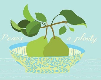 Aqua Pears fruit print with lettering.