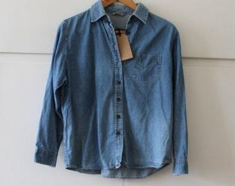 Vintage Denim 1990s Shirt M&S | Size 8 S