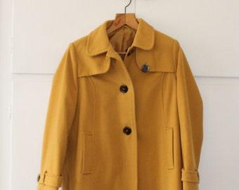 Vintage Mustard ladies Pea Coat Mac   Size 12 14