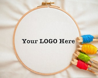 Your business LOGO hand stitched on embroidery hoop